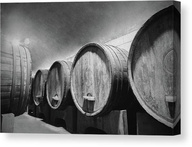 Alcohol Canvas Print featuring the photograph Underground Wine Cellar With Wooden by Feellife