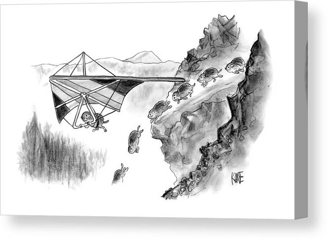 Death Sports Lemmings (lemming Avoids Death By Hang-gliding Off Of Cliff. ) 120271 Jkn John Kane Canvas Print featuring the drawing New Yorker January 3rd, 2005 by John Kane