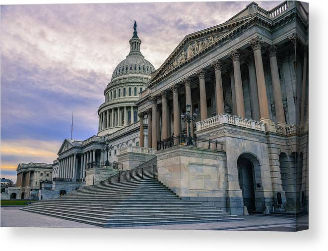 Tranquility Canvas Print featuring the photograph Us Capitol Building And Senate Chamber by Mbell