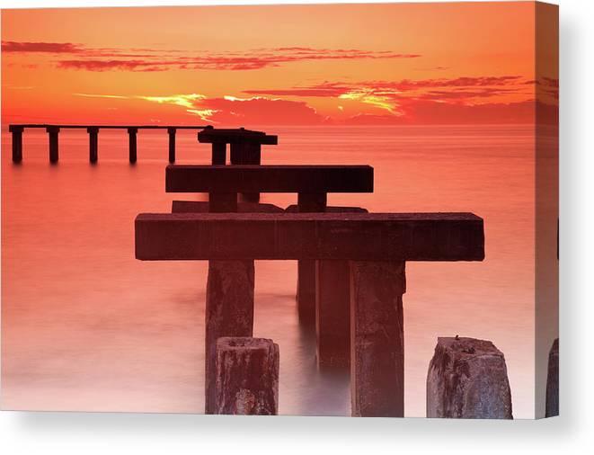 Tranquility Canvas Print featuring the photograph Usa, Florida, Boca Grande, Ruined Pier by Henryk Sadura