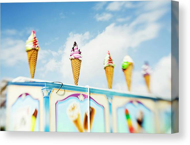 Sweden Canvas Print featuring the photograph Variety Of Ice Cream Sculptures On Cart by Kentaroo Tryman