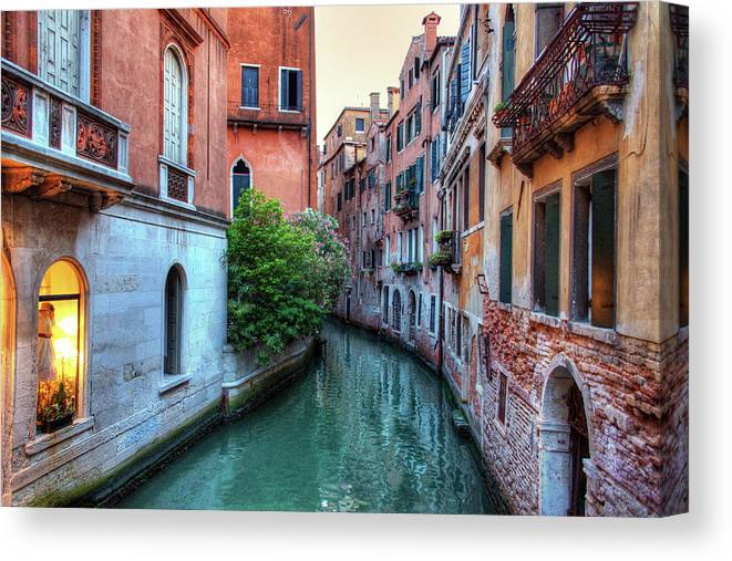Tranquility Canvas Print featuring the photograph Venice Canals by Emad Aljumah