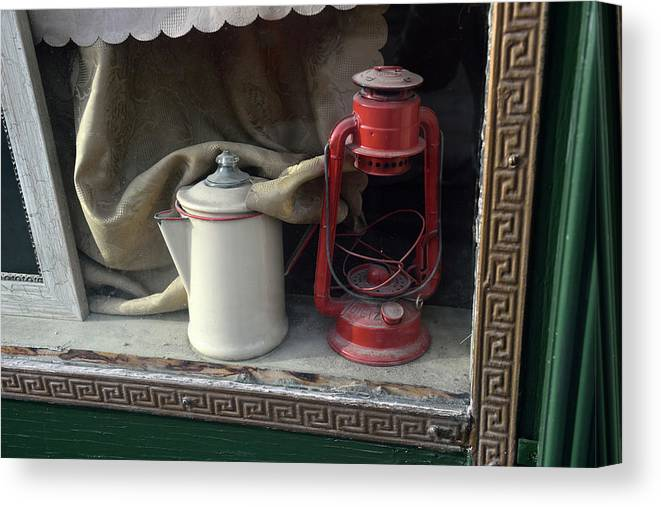 Tranquility Canvas Print featuring the photograph Vintage Kerosene Lamp And Vintage by Feifei Cui-paoluzzo