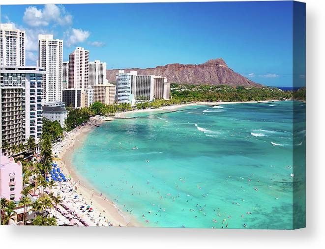 Water's Edge Canvas Print featuring the photograph Waikiki Beach by M Swiet Productions
