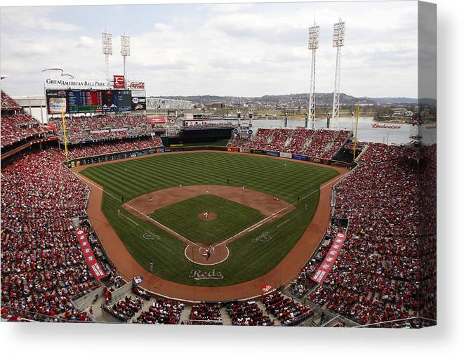 Great American Ball Park Canvas Print featuring the photograph Washington Nationals V. Cincinnati Reds by John Grieshop
