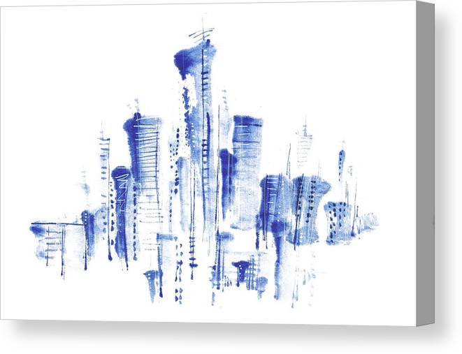 White Background Canvas Print featuring the digital art Water-and-ink Cityscape by Bji/blue Jean Images