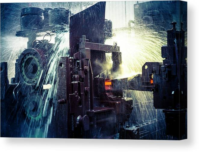 Metalwork Canvas Print featuring the photograph Water Cooling Of Roling Mill Line by Chinaface