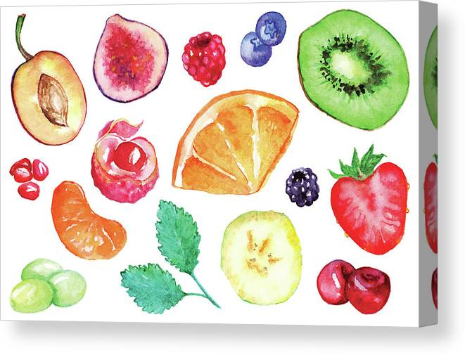 Cherry Canvas Print featuring the digital art Watercolor Exotic Fruit Berry Slice Set by Silmairel