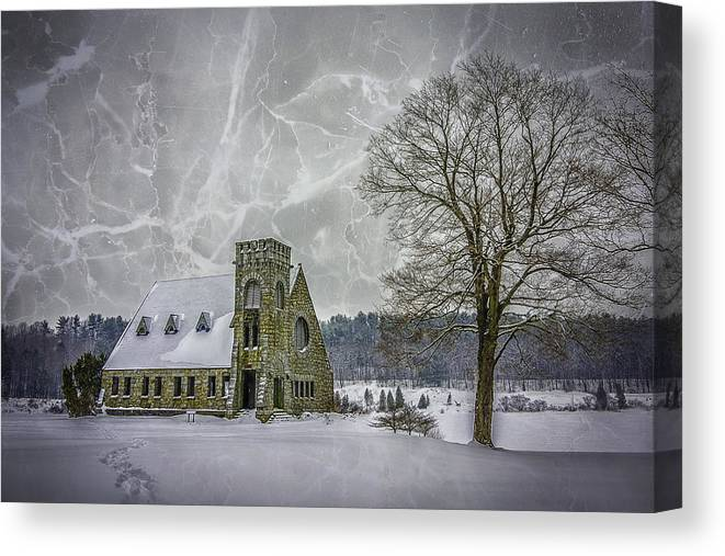 Winter Canvas Print featuring the photograph Winter on the Old Stone Church by Bob Bernier