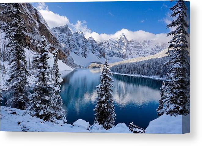 Winter Canvas Print featuring the painting Winter wonder land by Kenneth LePoidevin