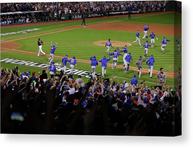 American League Baseball Canvas Print featuring the photograph World Series - Chicago Cubs V Cleveland by Jamie Squire