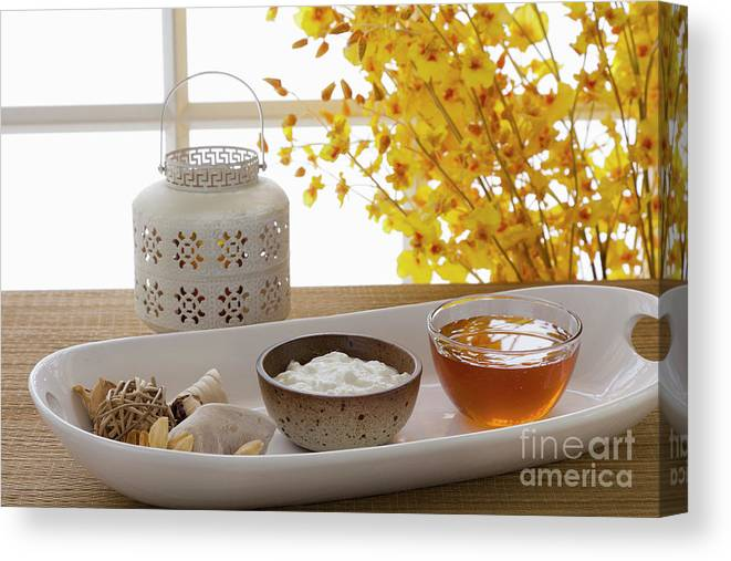 Spa Canvas Print featuring the photograph Yogurt And Honey On A Tray In A Spa by Juan Silva