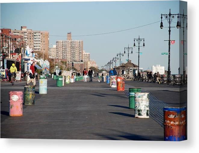 Brooklyn Canvas Print featuring the photograph Coney Island Boardwalk by Rob Hans