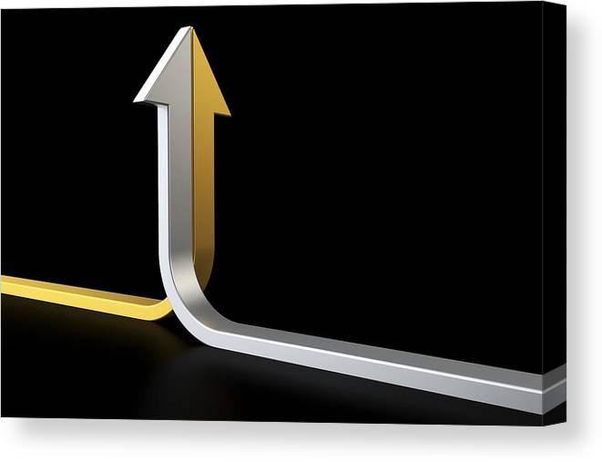 Horizontal Canvas Print featuring the digital art Golden And Silver Arrows by Bjorn Holland