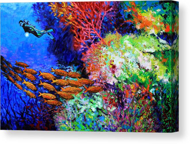 Scuba Diver Canvas Print featuring the painting A Flash of Life and Color by John Lautermilch