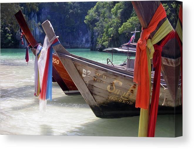 Thailand Canvas Print featuring the photograph Andaman Sea Water Taxi by John Banegas