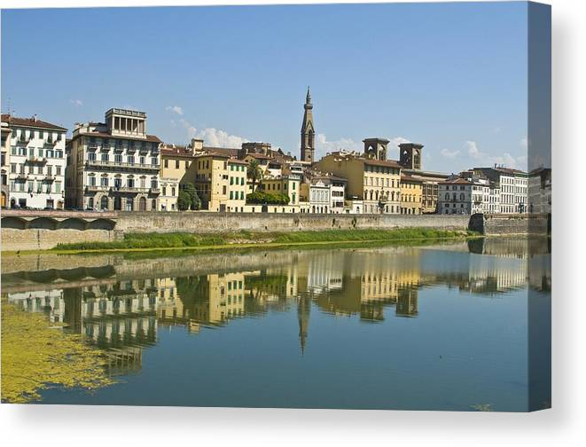 Florence Canvas Print featuring the photograph Arno Reflection by Richard Henne