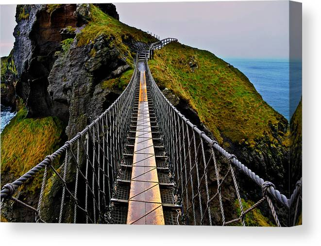 Rope Bridge Canvas Print featuring the photograph Carrick-a-Rede Rope Bridge by Justin Albrecht