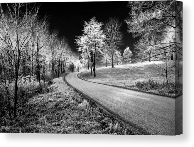 Black And White Canvas Print featuring the photograph Country Lane by Jim Painter