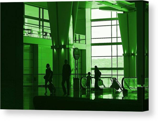 Green Canvas Print featuring the photograph Green Airport by Ron Morales