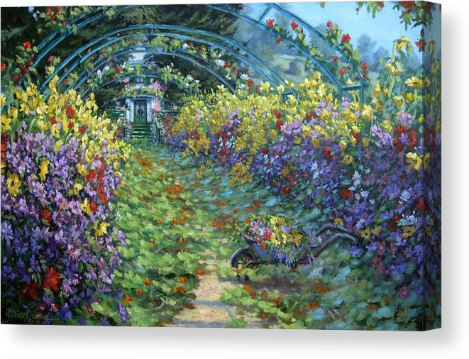 Claude Monets Garden In Fall Canvas Print featuring the painting Monet's Autumn by L Diane Johnson