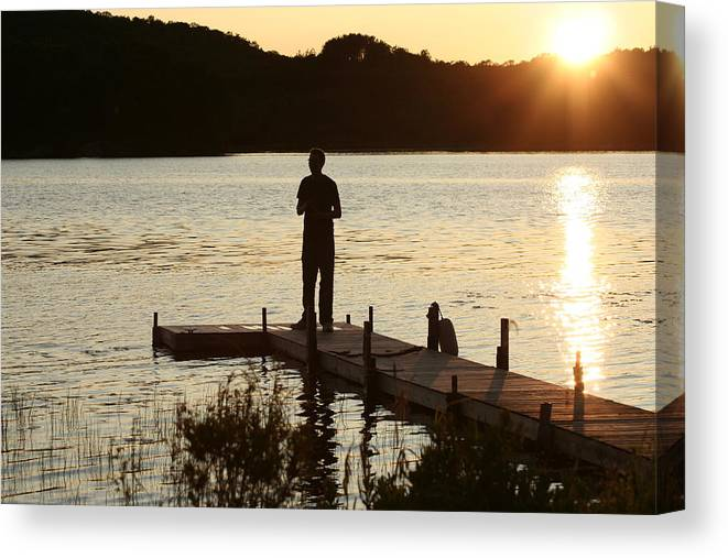 Water Canvas Print featuring the photograph Person contemplating by Dr Carolyn Reinhart