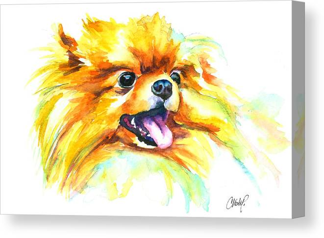 Pom Canvas Print featuring the painting Pomeranian Fire by Christy Freeman Stark