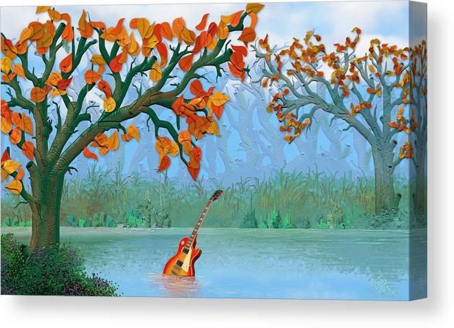 River Guitar Canvas Print featuring the digital art River Guitar by Tony Rodriguez