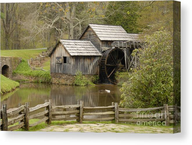 History Canvas Print featuring the photograph The Old Grist Mill by Cindy Manero