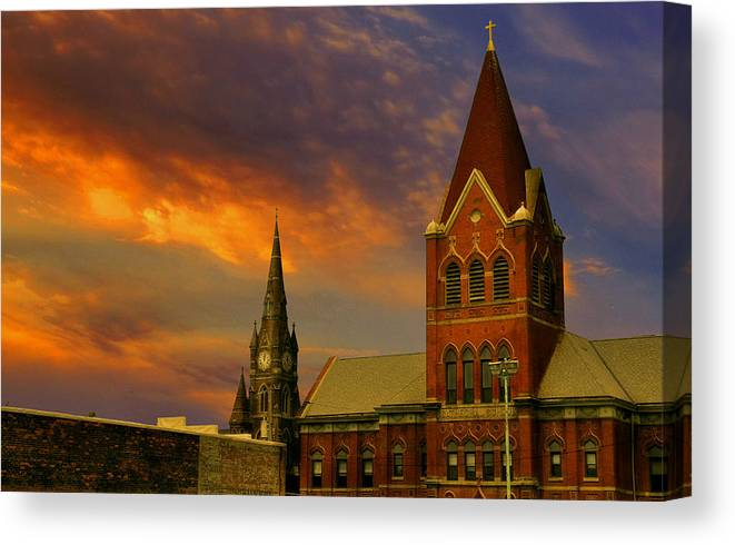 Church Canvas Print featuring the photograph Towers Of Faith by Brian Fisher