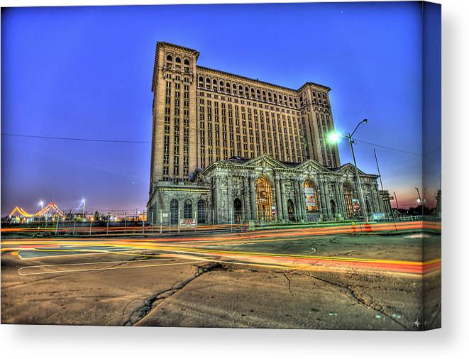 Michigan Central Canvas Print featuring the photograph Michigan Central Train Depot Station Detroit MI by Nicholas Grunas