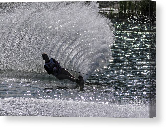 Water Skiing Canvas Print featuring the photograph Water Skiing 2 by Vivian Christopher