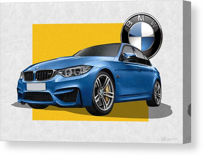 �bmw� Collection By Serge Averbukh Canvas Print featuring the photograph 2016 B M W M 3 Sedan with 3 D Badge by Serge Averbukh