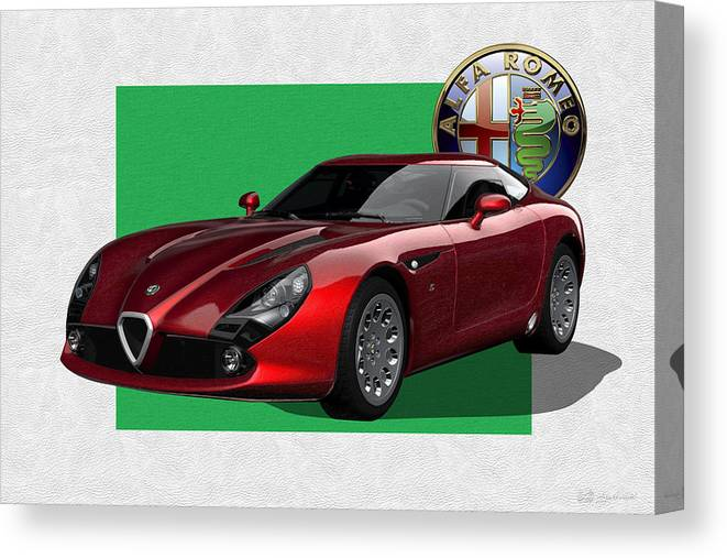 �alfa Romeo� By Serge Averbukh Canvas Print featuring the photograph Alfa Romeo Zagato T Z 3 Stradale with 3 D Badge by Serge Averbukh