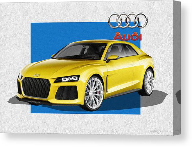 �audi� Collection By Serge Averbukh Canvas Print featuring the photograph Audi Sport Quattro Concept with 3 D Badge by Serge Averbukh