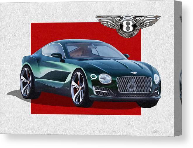 �bentley� Collection By Serge Averbukh Canvas Print featuring the photograph Bentley E X P 10 Speed 6 with 3 D Badge by Serge Averbukh