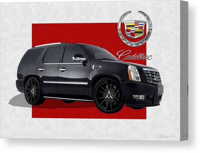 �cadillac� By Serge Averbukh Canvas Print featuring the photograph Cadillac Escalade with 3 D Badge by Serge Averbukh