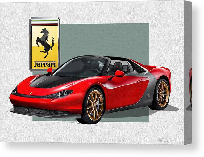 �ferrari� Collection By Serge Averbukh Canvas Print featuring the photograph Ferrari Sergio with 3D Badge by Serge Averbukh