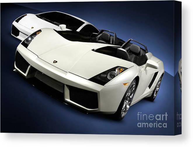 Lamborghini Canvas Print featuring the photograph Lamborghini Super Cars by Maxim Images Prints