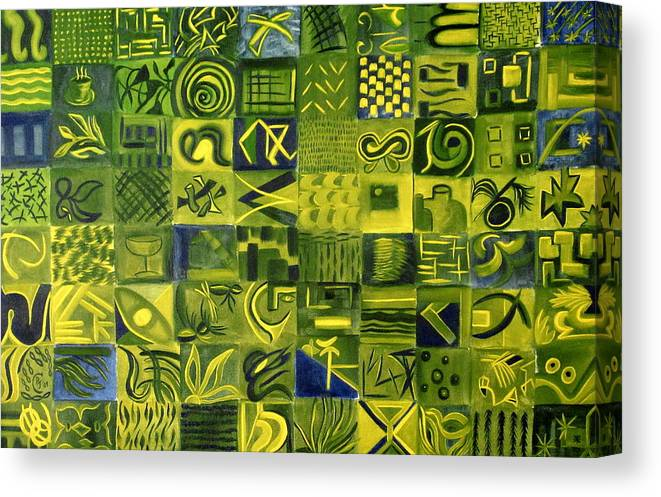 Green Canvas Print featuring the painting Night On The Lawn by Patricia Cleasby