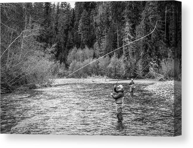 Flyfishing Canvas Print featuring the photograph On the River by Jason Brooks