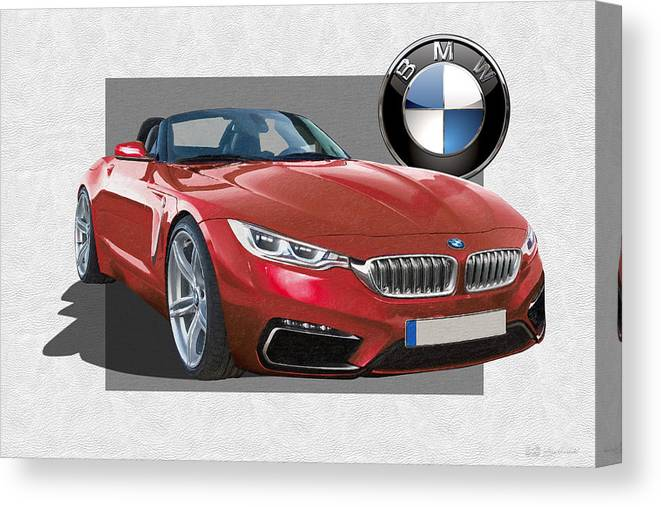 �bmw� Collection By Serge Averbukh Canvas Print featuring the photograph Red 2018 B M W Z 5 with 3 D Badge by Serge Averbukh