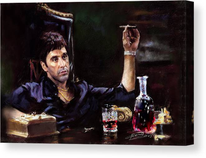 Al Pacino Canvas Print featuring the pastel Scarface by Ylli Haruni