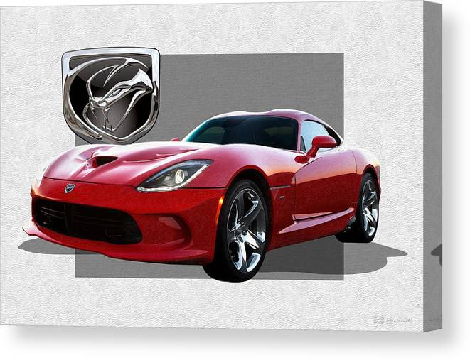 'dodge Viper' By Serge Averbukh Canvas Print featuring the photograph S R T Viper with 3 D Badge by Serge Averbukh