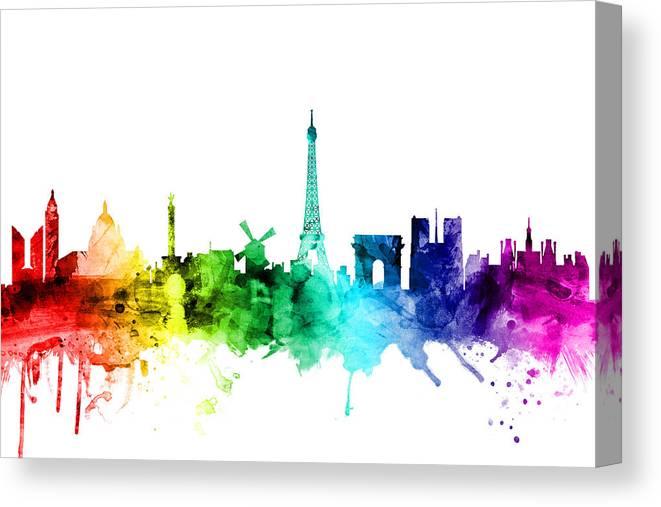 Paris Canvas Print featuring the digital art Paris France Skyline by Michael Tompsett