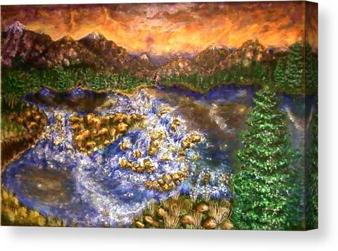 Lake Canvas Print featuring the painting Lake Succession by Tanna Lee M Wells