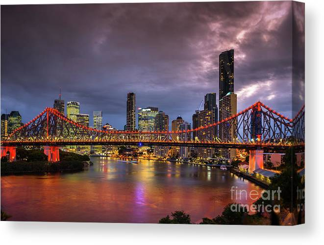 Brisbane Canvas Print featuring the photograph Brisbane City Skyline After Dark by Andrew Michael