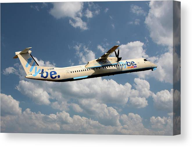 Flybe Canvas Print featuring the photograph Flybe Bombardier Dash 8 Q400 by Smart Aviation