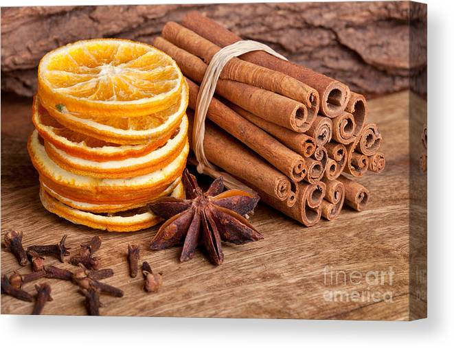 Cinnamon Canvas Print featuring the photograph Winter Spices by Nailia Schwarz