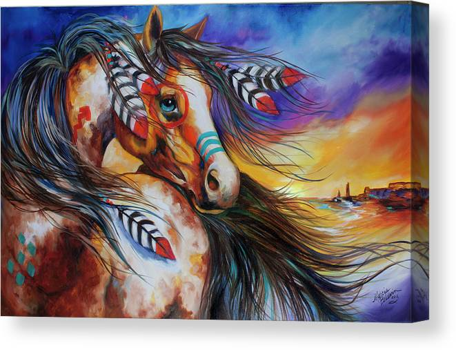 Indian Canvas Print featuring the painting 5 Feathers Indian War Horse by Marcia Baldwin